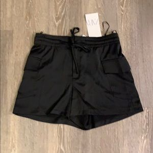 black silky shorts